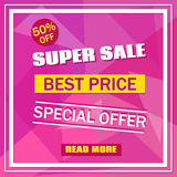 Super Sale banner on colorful pink background with white frame. Sale background.  Sale tag. Sale poster. Sale vector. Geometric. Design. Super Sale, best Price Stock Images