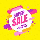 Super sale banner, colorful and playful design. Vector illustration Royalty Free Stock Image