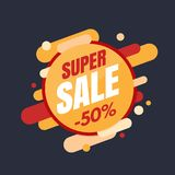 Super sale banner, colorful and playful design Royalty Free Stock Photo