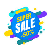 Super sale banner, colorful and playful design Royalty Free Stock Image