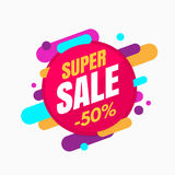Super sale banner, colorful and playful design Stock Image