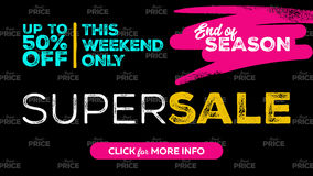 Super Sale Banner Design. End of Season Grunge Badge and Seamless Best Price Pattern on Black Background. Dark Template with Bright Elements. Vector Royalty Free Stock Images