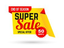 Super sale banner. End of season, special offer. Big sale, discount up to 50 percent off. Sale poster. Vector illustration.  Royalty Free Illustration