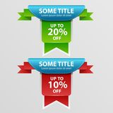 Super Sale, banner, -20%, -10% off. Super Sale, green and red banner, -20%, -10% off. Vector illustration Royalty Free Stock Image
