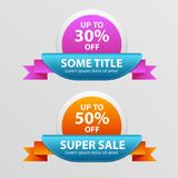 Super Sale, banner, -50%, -30% off. Super Sale, purple and yellow banner, -50%, -30% off. Vector illustration Stock Image