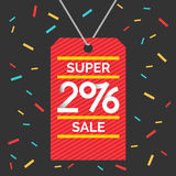 Super Sale banner. Original concept poster with the inscription Happy shopping 2016. Sale banner.Vector illustration in a flat style with a red label and royalty free illustration