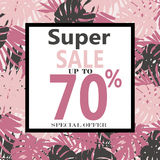 Super Sale banner, poster with Tropical Exotic Leaves. And Flowers. Discount Design Background with Jungle Palm Leaves Stock Images