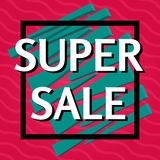 Super sale banner on red background.  Vector background with colorful design elements. Stock Photo