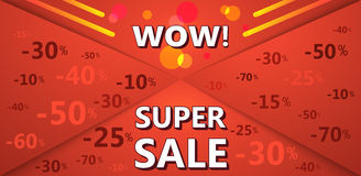 Super sale banner of red color with discount percentages. Stock Image