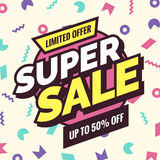 Super sale banner, Retro edition. Royalty Free Stock Image