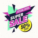 Super sale banner, Retro edition. Royalty Free Stock Photo