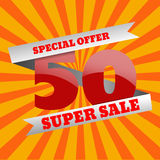 50 Super Sale banner special offer big sale eps 10. 50 Super Sale banner special offer big sale eps10 Royalty Free Illustration