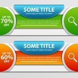 Super sale banner taped -60%, -70% discount. Two discount banner for a web site. Super sale banner taped -60%, -70% discount. Vector illustration Royalty Free Stock Photos