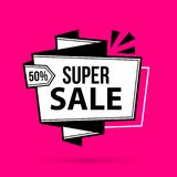 Super sale banner template in black and white style. On bright magenta background Stock Image
