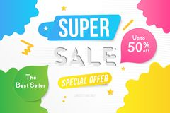 Super Sale banner template design with decorative elements. Big sale special up to 50 off. Special offer for market and shop. Flat. Vector illustration EPS 10 Royalty Free Illustration