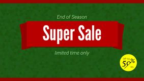 Super Sale banner template with fifty percent discount. Horizontal poster for advertising events of holiday sales on. Backdrop from triangles Royalty Free Stock Photography