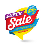 Super sale banner template, special offer, end of season. Vector illustration Royalty Free Stock Images