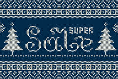 Super Sale Banner in Traditional Fair Isle Knitted Sweater Style Stock Photos