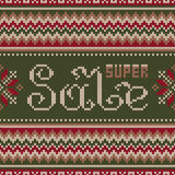 Super Sale Banner in Traditional Fair Isle Knitted Sweater Style Stock Photo