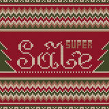 Super Sale Banner in Traditional Fair Isle Knitted Sweater Style Stock Images