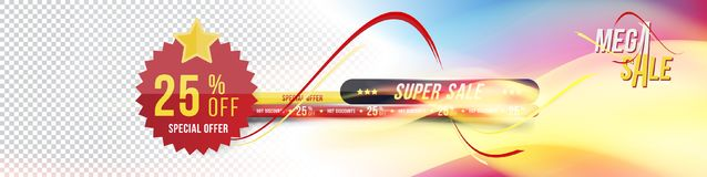 Super sale banner for the website. Banner with a gradient and a discount of 25 with a sticker on a transparent and. Colored background with realistic fire Stock Photo