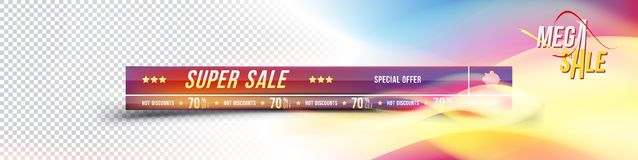 Super sale banner for the website. Banner with a gradient and a discount of 70 with a piggy bank on a transparent and colored back. Ground with realistic fire Royalty Free Stock Images