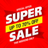 Super Sale banner. This weekend only special offer, up to 70% off vector illustration
