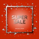 Super sale banner. White frame with black and white abstract geometric shapes around it on a red background stock images