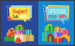 Super Sale Best Prices Discounts 20 50 Off Posters. Super sale best prices discounts -20 - 50 off, labels in shape of speech bubbles with percent signs, gift royalty free illustration