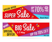 Super Sale and Big Sale Banners Royalty Free Stock Photography