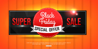 Super Sale Black Friday shining banner on orange Stock Photo