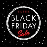 Super sale Black Friday star banner. Black Friday Super Sale Poster with gold ball on black background with golden stars. Vector illustration Stock Photo