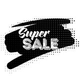 Super Sale Black Label with Halftone Pattern. Hand Drawn Lettering with Fonts Combination. Handwritten Script Badge for Banner, Website, Flyer, Postcard Royalty Free Stock Photos