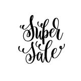 Super sale black and white hand lettering inscription Royalty Free Stock Image