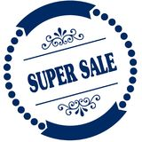SUPER SALE blue seal. Illustration graphic concept image Royalty Free Stock Photography
