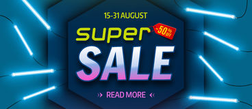 Super sale, bright colourful banner, with glowing neon tubes. Vector illustration Royalty Free Stock Photography