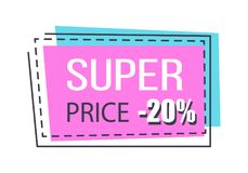 Super Sale Bright Promo Sticker with Thin Frame. Super price promo sticker in rectangular shape thin frame. 20 discount for all goods card vector illustration in Stock Photography