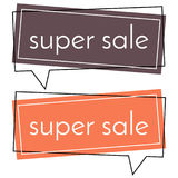 Super sale brown and red banner on white background.  Vector background with colorful design elements. Stock Image