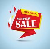 Super sale bubble banner in red and yellow colors Royalty Free Stock Images