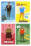 Super Sale clothing and accessories banner. Big sale, clearance. Cards for selling clothes, different sizes, characters. For men and women, large-scale clothing stock illustration