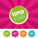 Super sale color banner and 50%, 60%, 70% & 80% Off Marks. Vector illustration. Super sale color banner and 50%, 60%, 70% & 80% Off Marks. Eps10 Vector Royalty Free Stock Images