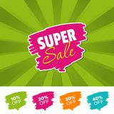 Super sale color banner and 10%, 20%, 30% & 40% Off Marks. Vector illustration. Super sale color banner and 10%, 20%, 30% & 40% Off Marks. Eps10 Vector Stock Photo