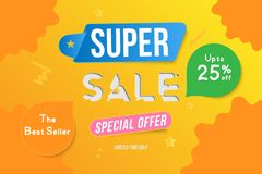 Super Sale color banner template design with decorative elements. Big sale special up to 25 off. Special offer for market and shop. Flat vector illustration vector illustration
