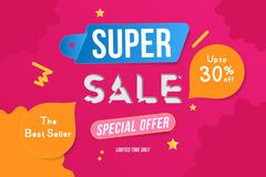 Super Sale color banner template design with decorative elements. Big sale special up to 30 off. Special offer for market and shop. Flat vector illustration royalty free illustration