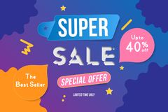 Super Sale color banner template design with decorative elements. Big sale special up to 40 off. Special offer for market and shop. Flat vector illustration stock illustration