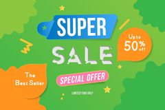 Super Sale color banner template design with decorative elements. Big sale special up to 50 off. Special offer for market and shop. Flat vector illustration Vector Illustration