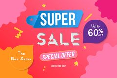 Super Sale color banner template design with decorative elements. Big sale special up to 60 off. Special offer for market and shop. Flat vector illustration Stock Illustration