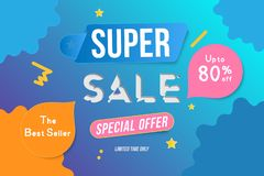 Super Sale color banner template design with decorative elements. Big sale special up to 80 off. Special offer for market and shop. Flat vector illustration Royalty Free Illustration