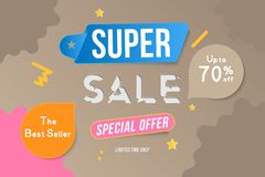 Super Sale color banner template design with decorative elements. Big sale special up to 70 off. Special offer for market and shop. Flat vector illustration royalty free illustration