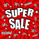 Super sale comic poster Royalty Free Stock Photography